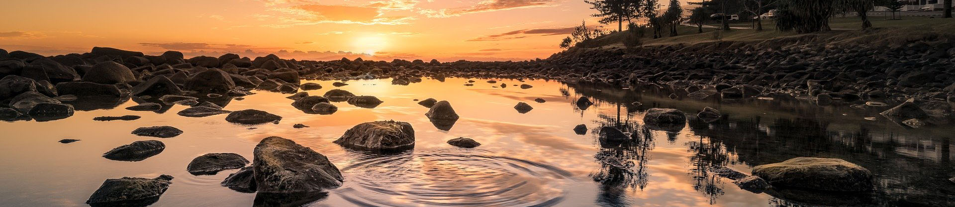 lake, sunset